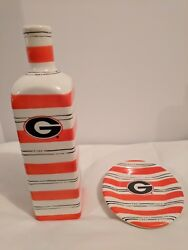 Georgia Bulldog Collectible Bottle And Small Plate Set 2006