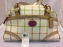 NEW Authentic COACH Peyton Tattersall Satchel Multicolor Handbag K1169-F19177