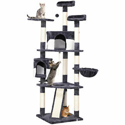 79quot; Large Cat Tree Tower Condo Scratching Post Pet Play House(Gray and White