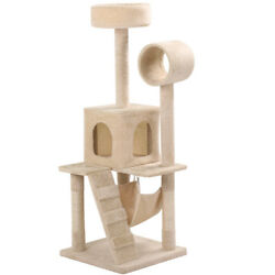 52.4'' Cat Tree Bed Furniture Scratching Tower Post Condo Kitten Pet House Beige