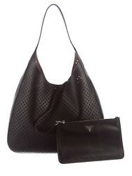 NEW PRADA CITY FORI HOBO TOTE LEATHER BLACK 2016 RARE- WITH WRISTLET