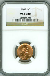 1962 Ngc Ms66 Rd Lincoln Cent, Business Strike, Bright Shine, Cherry Red Color