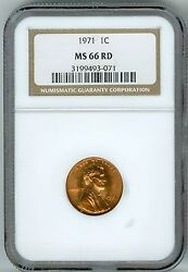 1971 Cent Ngc Ms66 Rd Penny 1c 2nd Finest Registry Good Color