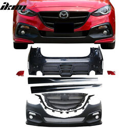 Fits 14-16 Mazda 3 5D KS Style PP Front & Rear Bumper ABS Side Skirt W/ Red LED