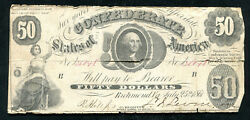T-8 1861 50 Fifty Dollars Csa Confederate States Of America Currency Note