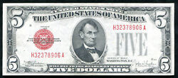 2 Consecutive 1928-e 5 Red Seal Legal Tender United States Notes Gem Unc