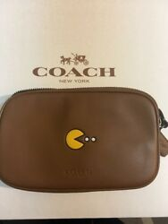 Coach PAC-MAN Crossbody Pouch In Calf Leather Shoulder Bag F55743 Saddle NWT (R)