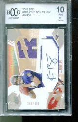 2003 Spx 192 Kyle Boller Rc Auto Rookie Card Jersey /450 - Bccg Mint 10