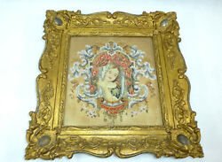 Biedermeier Picture In The Frame France About 1840 Beadwork Steel Pin Nk-3748