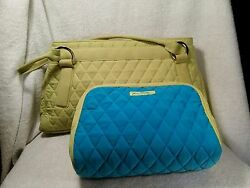 Vera Bradley Women's Lime Green Quilted Handbag and Cosmetic Bag