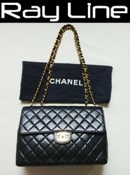 100% authentic CHANEL chain Shoulder Bag leather Big Classic30 {USED}