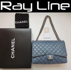 100% authentic [CHANEL] Jumbo classic 34 Shoulder Bag Double Chain Gray (Used)