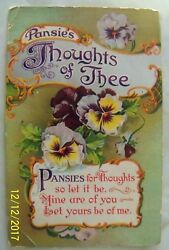 Pansies Thoughts Of Thee Postcard Postmarked South Boston Virginia 1911