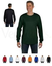 Hanes Mens Tagless 100% Cotton Long Sleeve T Shirt with a Pocket Tee S 3XL 5596