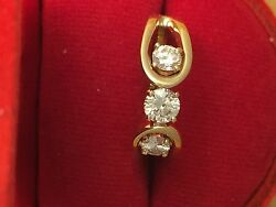 14k Gold 3 Diamonds Ring 2 Ends 1/3ct Middle 1/2 Ct S1 And 2 -vvs2