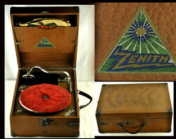 Antique Vintage Zenith Portable Phonograph Gramophone Working See Video