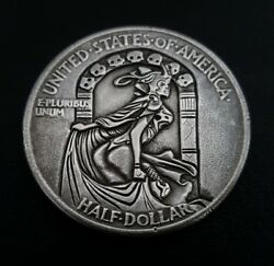Hobo Evil Queen  on a 1943 Walking liberty half dollar carved by Eddie Romero