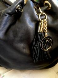 MICHAEL KORS LEATHER GOLD HARDWARE GORGEOUS DESIGN TASSEL BAG L