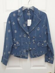 Very Cool Brazil Roxx Jeans Jacket NWT Denim Peace Signs Embroidered Size Medium