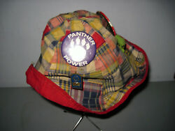 Vintage plaid 1960s Bucket hat with Pinback buttons Black Panther button