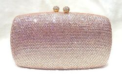 Champagne Double Balls Lock Women BridalPromEvening Crystal Case Clutch Bag
