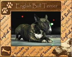 ENGLISH BULL TERRIER ENGRAVED ALDERWOOD PICTURE FRAME #0069 In four sizes.