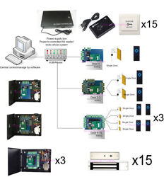 Tcp/ip 15 Door Security Access Control System Kit Electromagnetic Lock Power Box