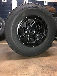 Mo970 17x9 Black Milled Wheels Rims At Tires Package 5x5.5 33 Dodge Ram 1500