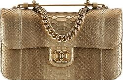 Chanel Gold Python Medium Flap Bag with Double Straps