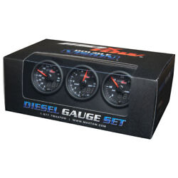 Maxtow 52mm Black And Blue Diesel Boost, Egt And Fuel Pressure Gauges Mt-bdv-ds2