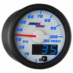 Maxtow 52mm White And Blue Double Vision Oil Pressure Gauge - Mt-wbdv04