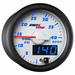 Maxtow 52mm White And Blue Double Vision High Pressure Oil Hpop Gauge Mt-wbdv21