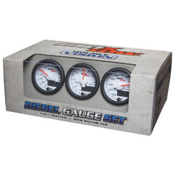 Maxtow 52mm White And Blue Diesel Set - Boost, Egt And Transmission Temp Gauges
