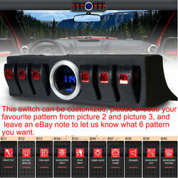 6 Rocker Switch Panel Bracket with digital voltmeter for Jeep Wrangler 07-16 Red