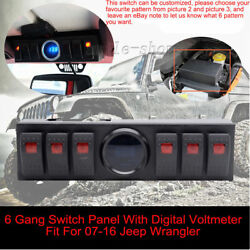 6 Rocker Switch Panel Cotrol Bracket With Digital Voltmeter Fit For Jeep JK Red