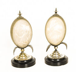 Antique Pair Australian Cameo Carved Emu Eggs On Stands 19th C