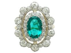 Antique 3.12 Ct Emerald and 3.15 Ct Diamond 18k Yellow Gold Dress Ring Size 8