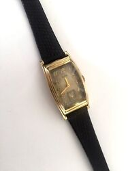 Vintage Men's Elgin Usa Watch 1939 Grade 536 15 Jewels Leather Band Runs And Stops