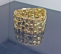 Real 10k Yellow Gold Men's Nugget Link Bracelet, Thick, 9 Inches, 19-20mm. New,n