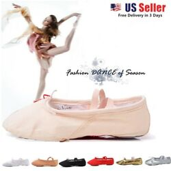 Toddler Girl And Adult Ballet Dance Split-sole Fashion 1 Canvas Slipper Shoes