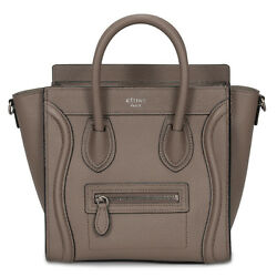 Céline Nano Luggage Bag in Baby Drummed Tan Calfskin Leather