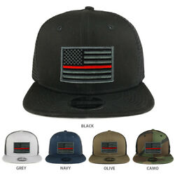 Thin Red American Flag Patch Snapback Trucker Cap - Free Shipping