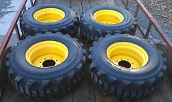 4 New 14x17.5 Skid Steer Tires And Rims For John Deere - 14 Ply Rating - 14-17.5