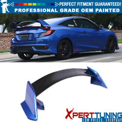 Fit 16-20 Honda Civic X 10th Gen Coupe Type R Trunk Spoiler-oem Painted Color