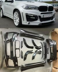 for BMW X6 F16 50i WIDE Bodykit LM-style front rear bumper spoiler exhaust