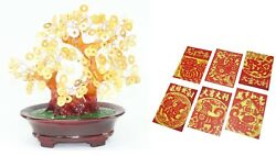 Chinese New Year Gift Gold Coins Money Tree + 6 Red Dog Money Fortune Envelopes