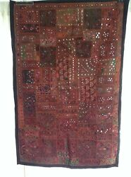 Antique Indian Patchwork Tapestry 3x5 Wall Hanging Hand Made Katchi Mirror Rug