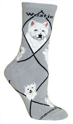 West Highland Terrier Dog Breed Gray Lightweight Stretch Cotton Adult Socks