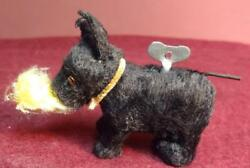 Super Rare Antique CLOCKWORK Miniature Scottie Terrier wGlass Eyes Key Wind