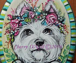 West Highland White Terrier Hand Painted Wooden Plaque